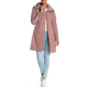 Cole Haan Packable Hooded Raincoat Mauve